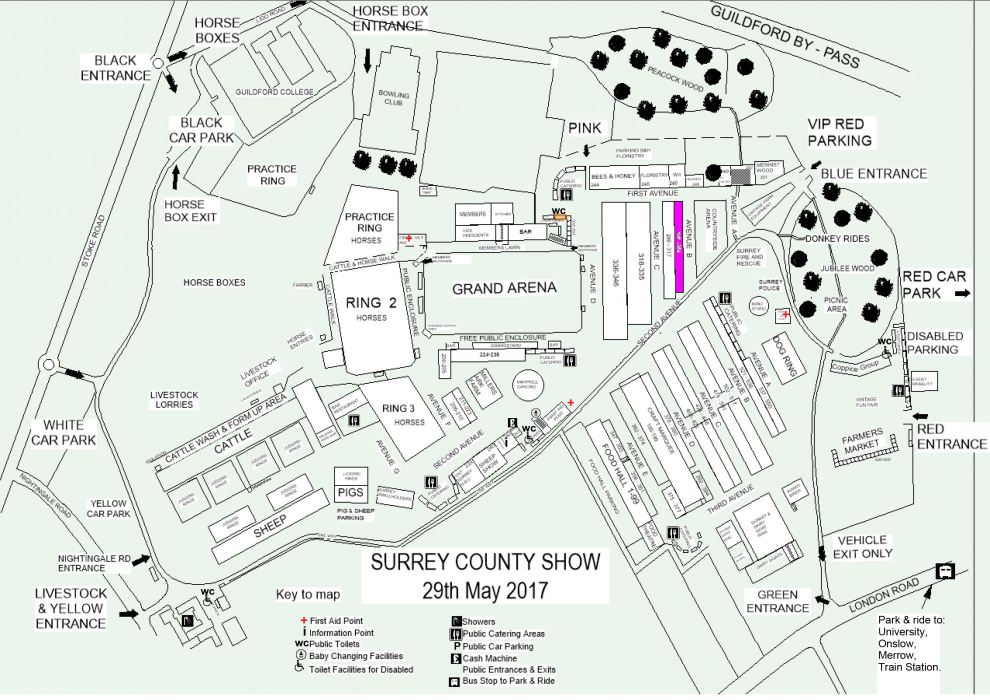 Surrey county show map