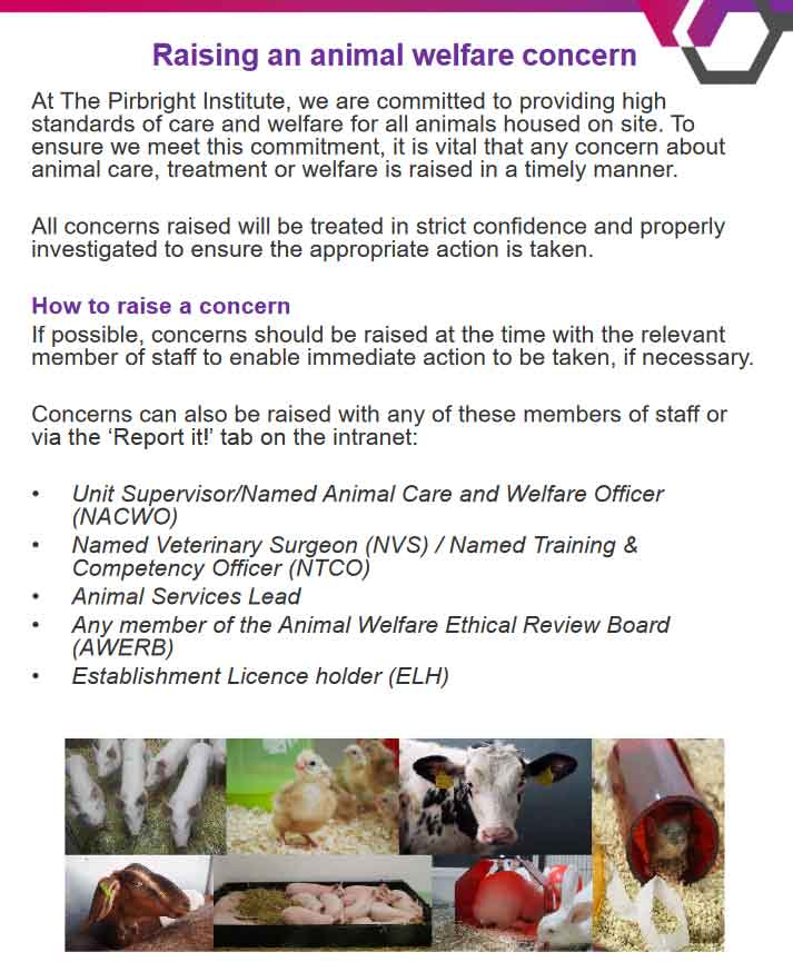 Animal welfare information