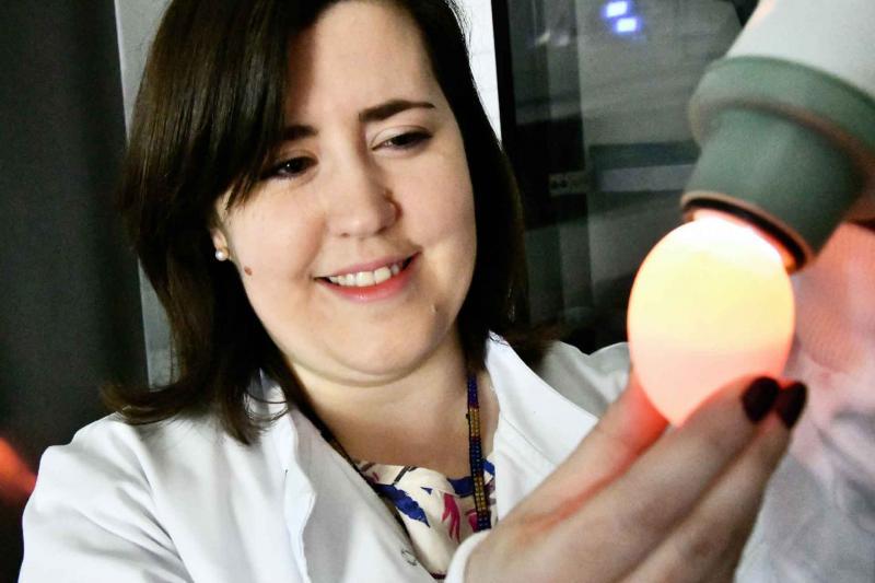 Dr Erica Bickerton egg candling