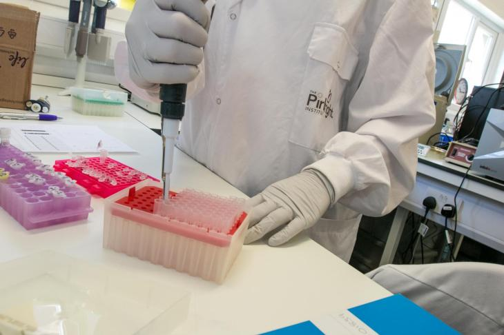 Pipetting at bench