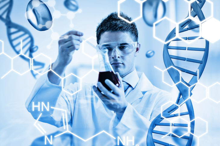 Male scientist in white lab coat with ppe eye mask holding a beaker of liquid. The image is overlayed with DNA double helixes