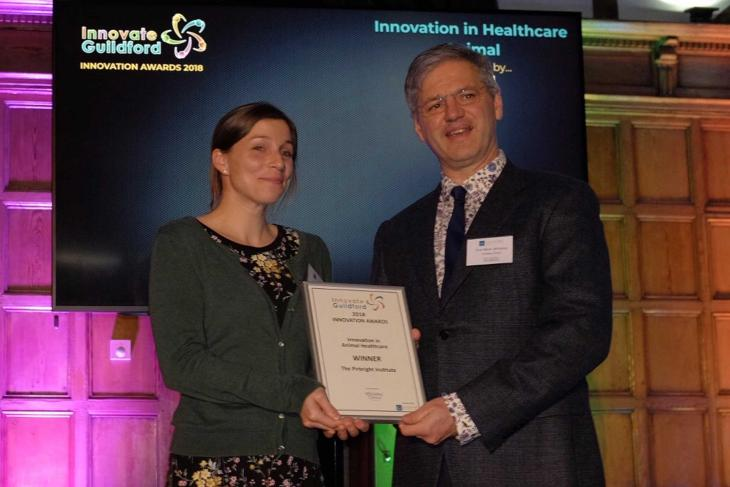 Claire colenutt receiving innovation in animal healthcare award