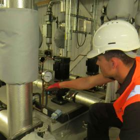 Maintenance being carried out in The Plowright Building